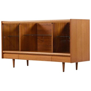 Cuban Mahogany & Glass Display Cabinet Credenza by John Keal for Brown Saltman For Sale