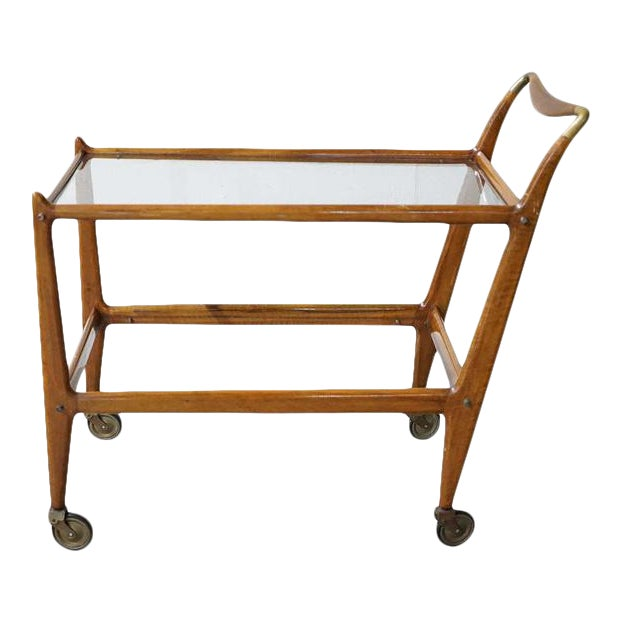 Mid-Century Wooden Bar Cart With Glass Shelves For Sale