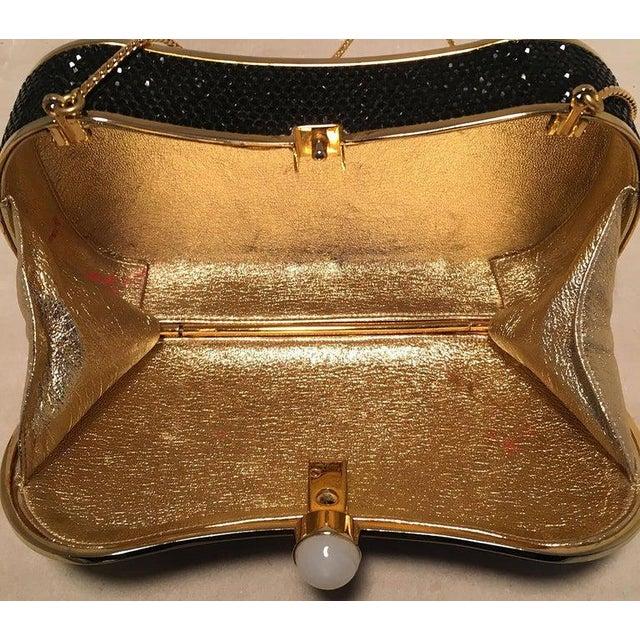 1980s Judith Leiber Black Swarovski Crystal Minaudiere Evening Bag Clutch For Sale - Image 5 of 9