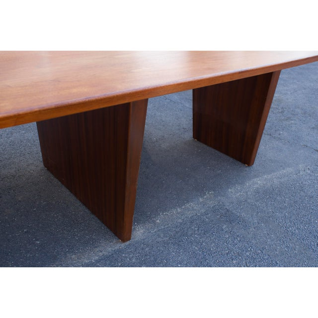 Massive Edward Wormley for Dunbar Walnut and Mahogany Dining / Conference Table For Sale - Image 10 of 12