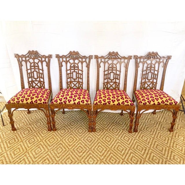 Vintage Pagoda Wooden Carved Dining Chairs - Set of 4 For Sale - Image 13 of 13
