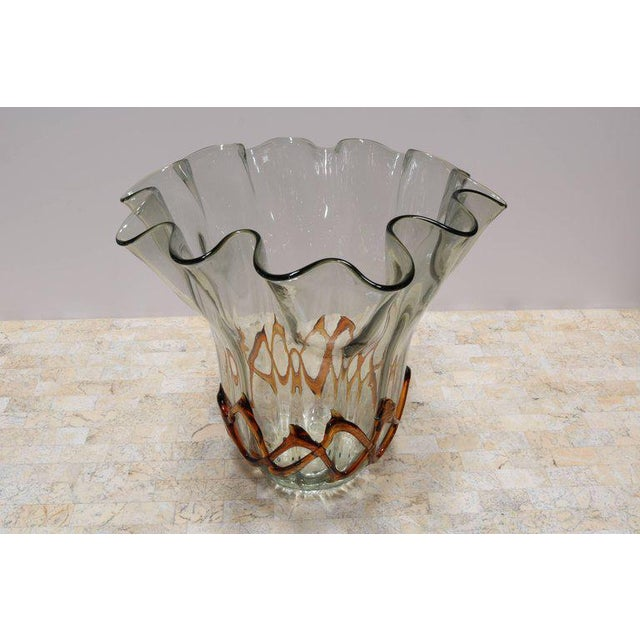 Mid-Century Modern Fluted Handkerchief Vase with Amber Ribbon For Sale - Image 3 of 8