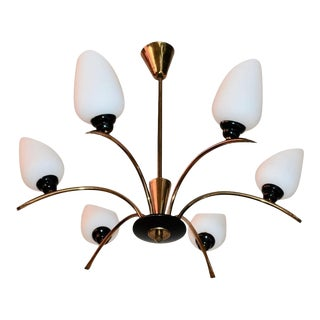 French Mid-Century Chandelier Attributed to Maison Arlus For Sale