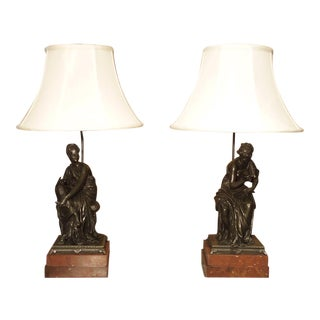 Antique Classical French Bronze Figural Table Lamps With Silk Shades - a Pair For Sale
