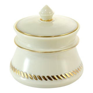 Gold Accented Custard Glass Jar For Sale