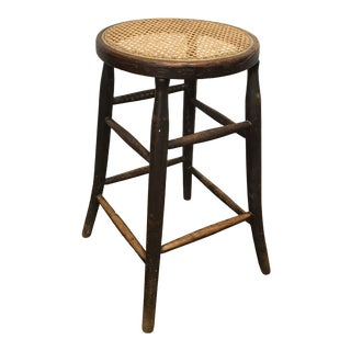 Rustic Oak Stool With Cane Seat For Sale
