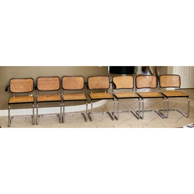 Beech 1950s Knoll Authentic Ebonized Beech Cesca Chairs – Set of 7 For Sale - Image 7 of 12