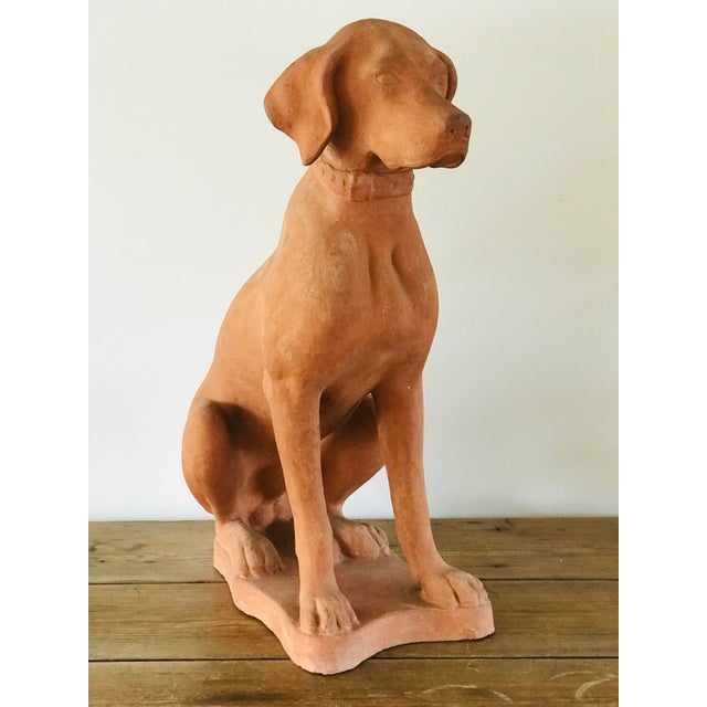A well modeled life-size terracotta hound garden statue. Made in Italy c. 1920. The seated dog is posed in a restful gaze....