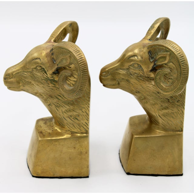 1960s Hollywood Regency Brass Ram Head Bookends - a Pair For Sale - Image 5 of 9