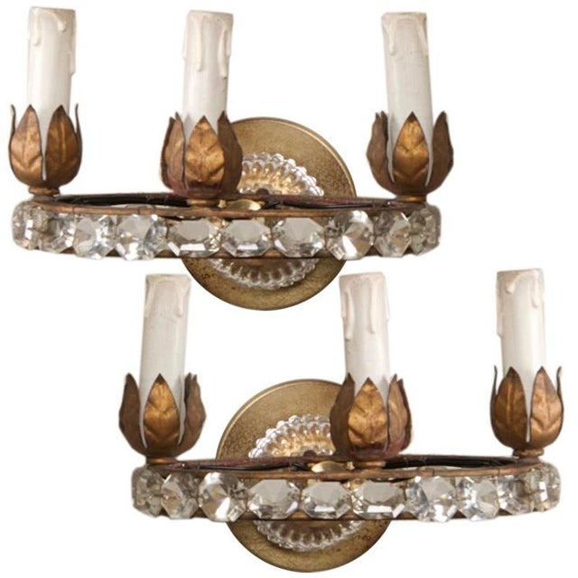Gold French Three Light Oval Crystal Beads Sconces - Pair For Sale - Image 8 of 8