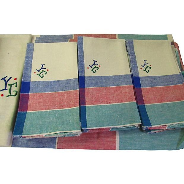 1950s Antique French Art Deco Monogrammed Tablecloths & Napkins - Set of 14 For Sale - Image 5 of 8