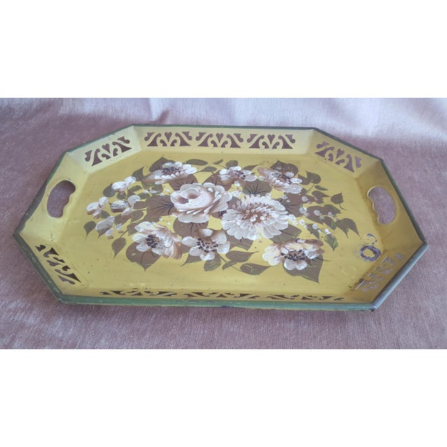 Vintage Chartreuse Floral Tole Tray For Sale - Image 4 of 8