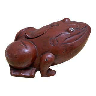 Vintage Asian Carved Wood Frog Box For Sale