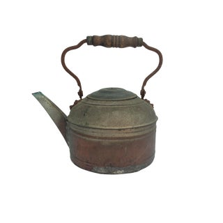 Antique Distressed Decorative Metal Kettle With Wood Handle For Sale