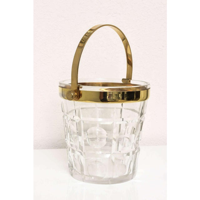 Hollywood Regency Hollywood-Regency Style Ice Bucket in Crystal with Brass Trim: American, 1940s For Sale - Image 3 of 10