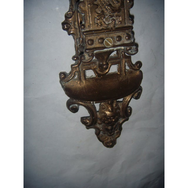 Ornate Brass Wall Mount Match Holder - Image 3 of 10