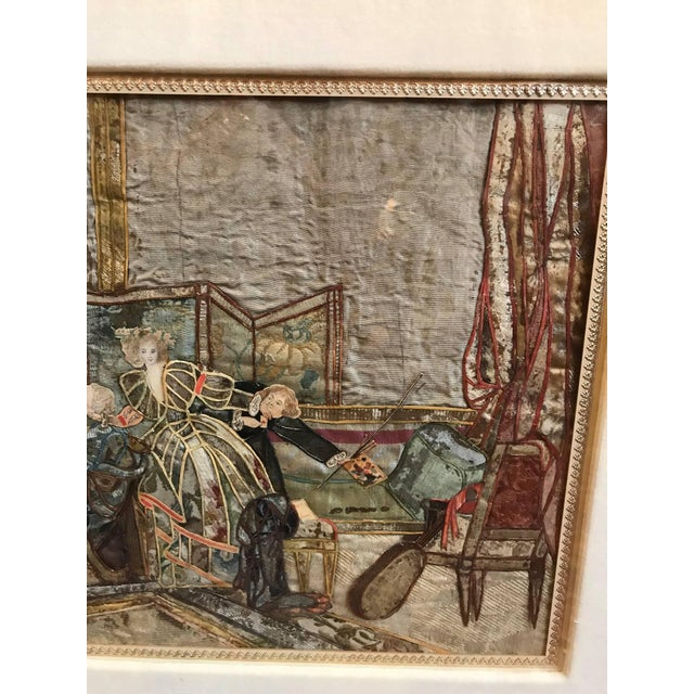 19th Century French Interior Scene Collage of Silk and Paper For Sale - Image 4 of 9
