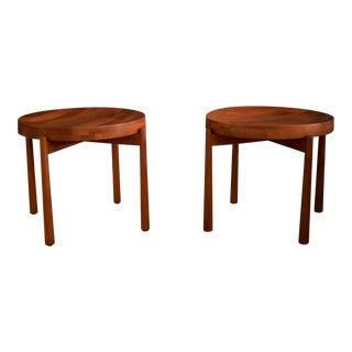 Vintage Mid-Century Staved Teak Dux End Tables - A Pair For Sale