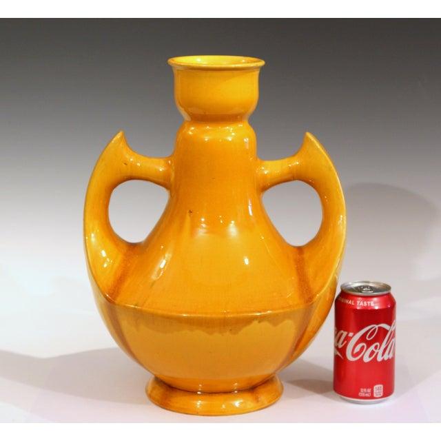 Large Awaji Art Deco Studio Pottery Japanese Wing Handled Golden Yellow Vase For Sale - Image 9 of 11