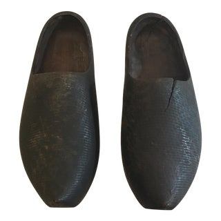 Vintage Dutch Wooden Clogs Wall Art - A Pair