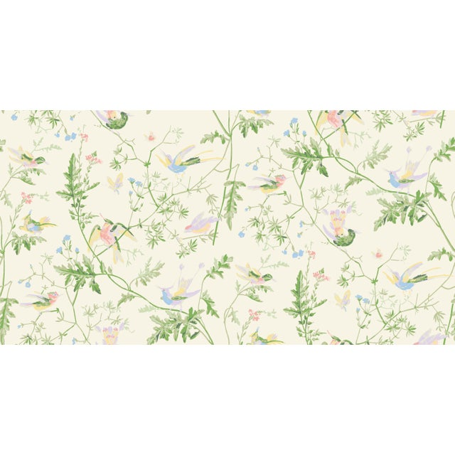 Cream Background Silk Fabric- Sample For Sale - Image 4 of 5