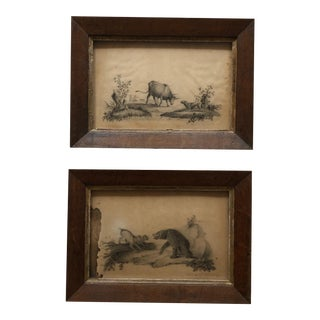 1825 L. E. Golding Original Drawings Depicting Bear-Baiting Bull-Baiting - a Pair For Sale