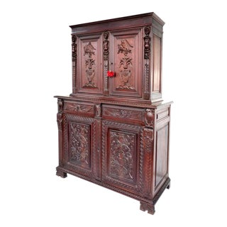Custom Carved Mahogany Cabinet by S. Pagano 1930 - 2 Pieces For Sale