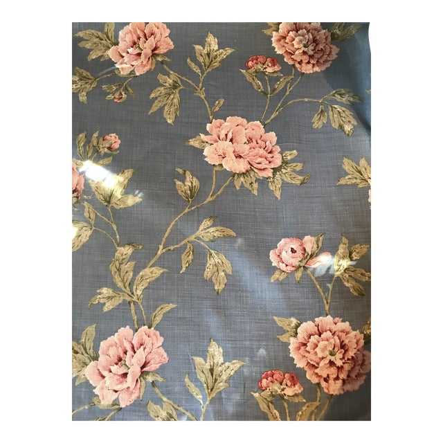 Colefax & Fowler Karina Blue Linen Fabric - 7 3/8 Yards For Sale