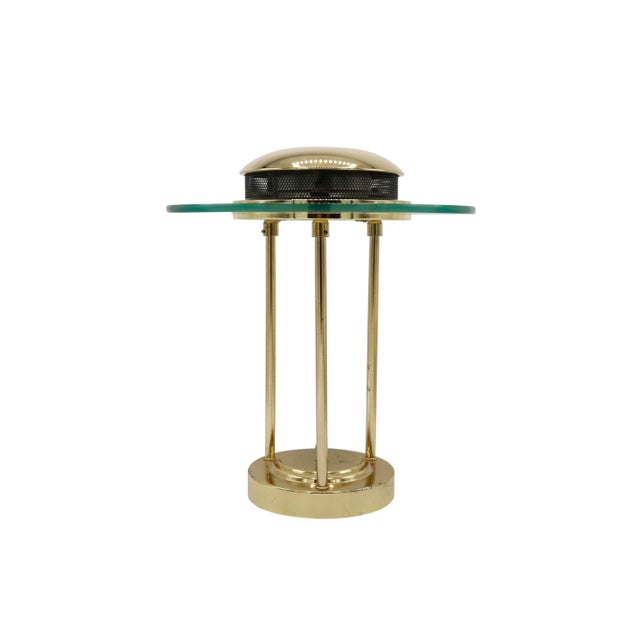 Mid-Century Modern 1970s Italian Mid Century Polished Brass and Glass Table Lamp With a Dimmer Switch For Sale - Image 3 of 9