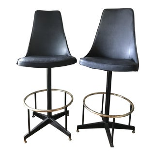 Black Cal-Style Vinyl Stools - A Pair For Sale