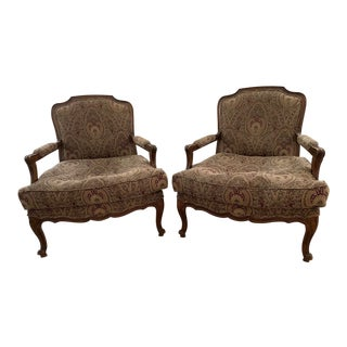 Louis XV Style Custom Upholstered Bergere Deep Seated Chairs - a Pair For Sale