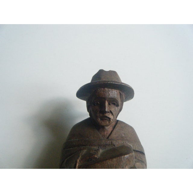 Vintage Handcarved Ecuadorian Wooden Farmer Statue - Image 4 of 4