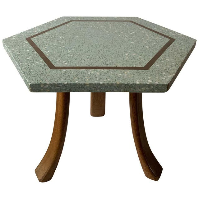1950s Harvey Probber Blue Terrazzo Tripod Side Table For Sale - Image 9 of 9