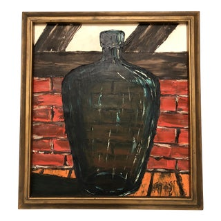 Mid-Century Glass Bottle and Brick Impasto Oil Painting Artist Signed Meunier For Sale