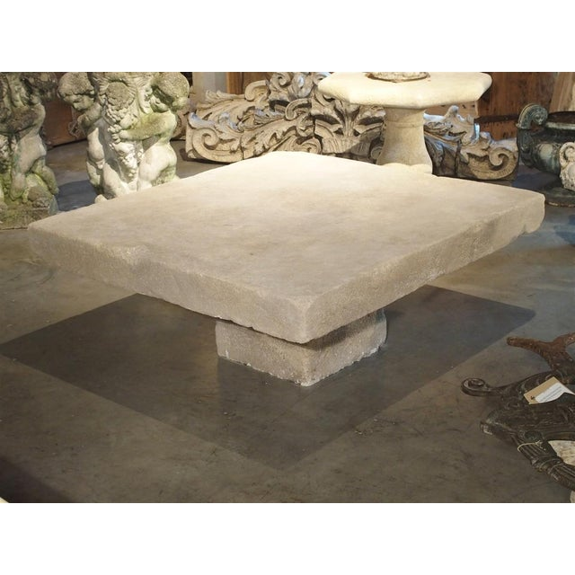 Large Limestone Coffee Table From Provence, France For Sale In Dallas - Image 6 of 12