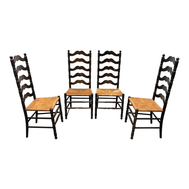 Tell City Vintage Ladder Back Dining Chairs - Set of 4 - Image 1 of 11