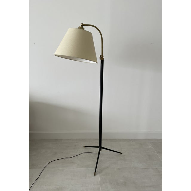 Metal 1950s Jacques Adnet-Style Floor Lamp For Sale - Image 7 of 7