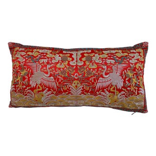 Hollywood Regency Red & Gold Asian Chinoiserie Boudoir Pillow For Sale