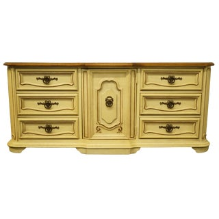 20th Century French Provincial Stanley Furniture Cream Painted Triple Door Dresser For Sale