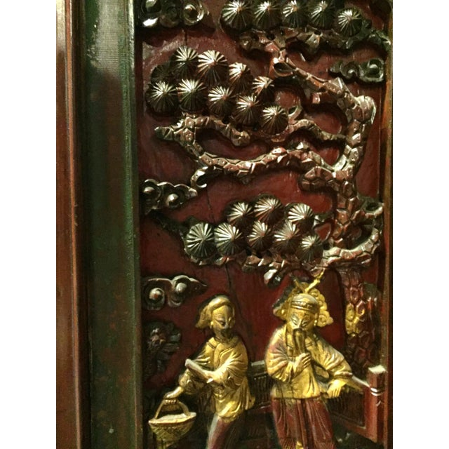 Asian Antique Chinese Carved Gilded With Mother of Pearl Cabinet For Sale - Image 3 of 12