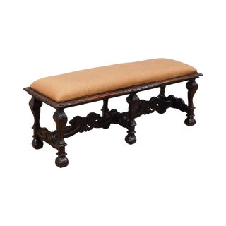 William and Mary Revival Antique Carved Walnut 6 Leg Window Bench For Sale