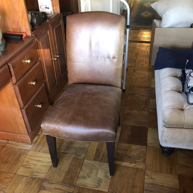 Brown 21st Century Mitchell Gold Leather Side Chair For Sale - Image 8 of 8