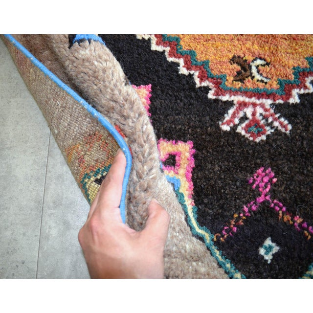 Hand Knotted Natural Colors Full Tribal Design Runner Rug Wide Runner - 3′6″ X 11′4″ For Sale - Image 10 of 11