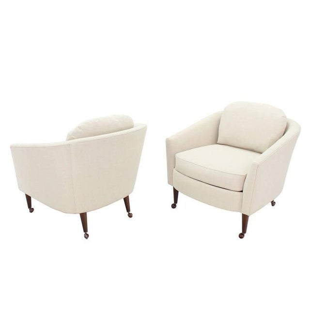 Mid-Century Modern Pair of Newly Upholstered Mid-Century Modern Barrel Back Chairs For Sale - Image 3 of 8