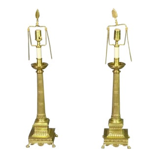 Solid Brass French Regency Fluted Column Lamps With Paw Feet and Anthemia, Pair For Sale