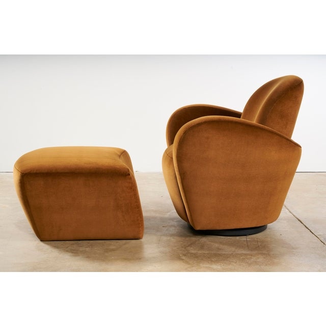 Preview Uncommon Vladimir Kagan Swivel Chairs With Matching Ottomans For Sale - Image 4 of 7