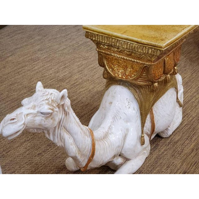 Safari Large Ceramic Camel Plant Stand For Sale - Image 3 of 12