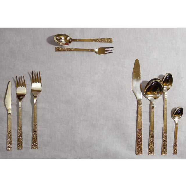 Large Vintage Floral Bronze Flatware Set - Image 6 of 7