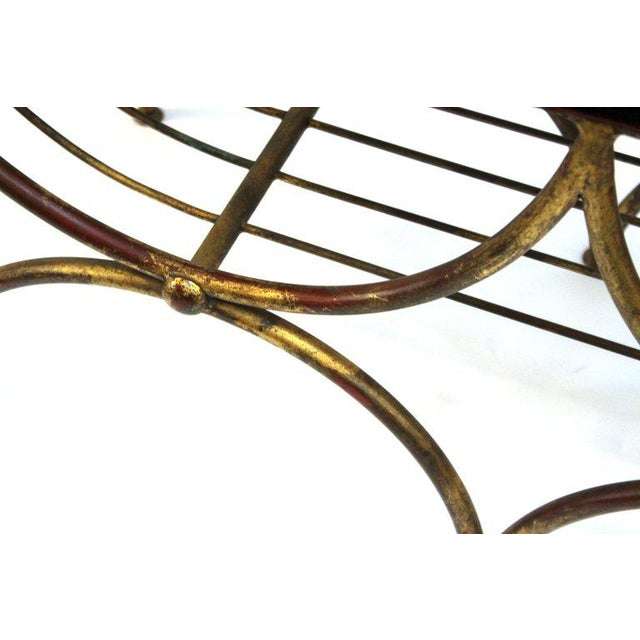 Mid Century Modern Italian Bench in Gilt Iron & Faux Leopard Leather Seat For Sale - Image 9 of 12
