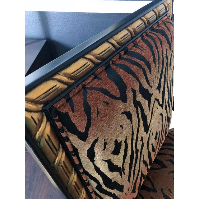 Tiger pattern Empire style armchair for sale. This oversized chair was quickly named King Tiger. It sits like royalty in a...